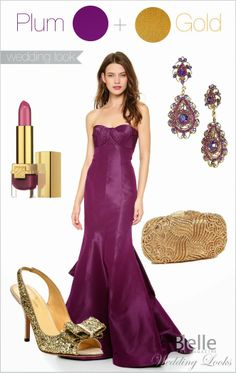 {Wedding Day Look} : Plum +  Gold | bellethemagazine.com