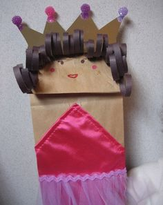 """Paper Bag Puppet - Here are our favorite activities with a fairy tale twist - all devoted to the beloved character that is the """"Fairy Tale Princess. Princess Activities, Fairy Tale Activities, Princess Crafts, Craft Activities, Princess Party, Fairy Tale Crafts, Fairy Tale Theme, Fairy Tales, Art For Kids"""