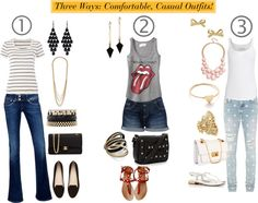 """""""Three Ways: Comfortable, Casual Outfits!"""" by ask-taylor on Polyvore"""