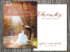 DIY printable photo wedding thank you card by sweetlittlesentiment, $14.00