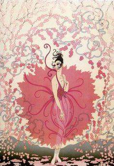 "Chic Original Vintage ERTE Art Deco Print ""PINK LADY"" Fashion Book Plate"
