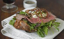 Horseradish cream and crispy onion rings give this dish real class. Rare roast beef and yorkshire pudding Yorkshire Pudding Sandwich, Yorkshire Pudding Recipes, Best Roast Recipe, Roast Recipes, Food Network Uk, Food Network Recipes, Lunch Recipes, Cooking Recipes, Cooking Videos