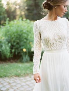 Long sleeves full lace wedding dress flowing skirt | bohemian | Melanie by FLORA