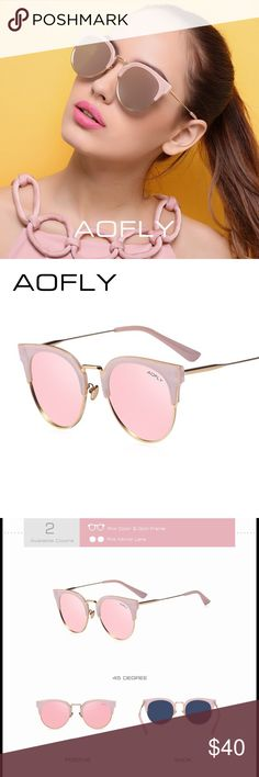 AOFLY Authentic Sunglasses High quality material pink and gold metal frame with pink mirrored lenses. Authentic sunglasses produced by company AOFLY including an original case with cleaning cloth. If you would like a different color, please feel free to request it and we will get it for you. AOFLY Accessories Sunglasses
