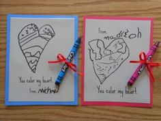 """You color my heart"" Valentine Cards"
