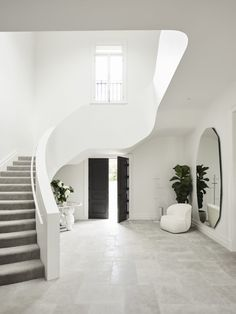 Marble Benchtop, Parquetry Floor, Steel Frame Doors, Modern Entrance, Entrance Hall, Off White Walls, Modern Staircase, Spiral Staircases, Staircase Design
