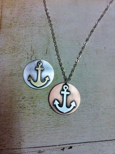 reminds me of my grandpa Anchor Necklace, Washer Necklace, Nautical Jewelry, Unique Jewelry, Anchor Charm, Mixed Metal Jewelry, Metal Fabrication, Hamsa Hand, Mixed Metals