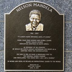 The Yankees honored the late Nelson Mandela, South Africa's first black president, with a plaque in Monument Park as part of their Jackie Robinson Day festivities. AP Photo/New York Yankees Jackie Robinson Day, Monument Park, First Black President, Human Rights Activists, Black Presidents, Apartheid, Nobel Peace Prize, Nelson Mandela, New York Yankees