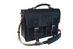 """Rustic Black Leather Messenger Bag Men's Women's Briefcase Laptop Satchel fits Macbook Pro 13"""" 038. $169.99, via Etsy."""