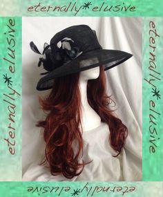 DANIELE MEUCCI Black Special Occasion Hat Wedding Races Mother Of The Bride 22""