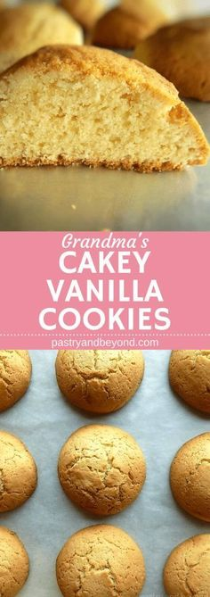 Grandma's Cakey Vanilla Cookies-You'll love this yummy vanilla cookie recipe if you like puffy, cakey cookies! No chilling required! Delicious Cookie Recipes, Best Cookie Recipes, Yummy Treats, Sweet Recipes, Baking Recipes, Yummy Food, Fun Food, Vanilla Cookie Recipe, Vanilla Cookies