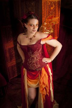 Fire spirit - Corset and chiffon skirt. Nice embellishment on the corset and I like the draping over the arm