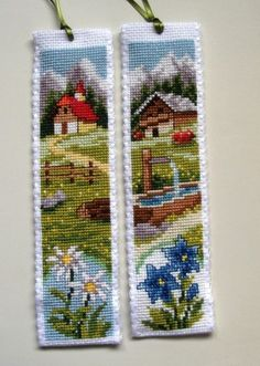 This Pin was discovered by edi Cross Stitch House, Cross Stitch Books, Cross Stitch Bookmarks, Crochet Bookmarks, Cross Stitch Charts, Cross Stitch Designs, Cross Stitch Patterns, Cross Stitching, Cross Stitch Embroidery
