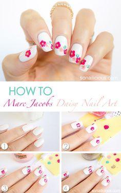 Marc Jacobs Daisy Delight Inspired Spring Nail Art Tutorial #nails #NailArt #NailDesigns