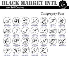 Wax Seal Stamp Set Calligraphy and Script Font by blackmarketintl
