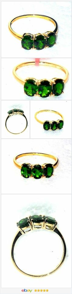50% OFF #EBAY http://stores.ebay.com/JEWELRY-AND-GIFTS-BY-ALICE-AND-ANN  Russian Chrome Diopside 3 stone 10K Yellow Gold 3.00 carats size 7