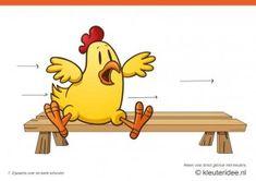Bewegingskaarten kip voor kleuters 7, Zijwaarts over de bank schuiven , kleuteridee.nl , thema Lente, Movementcards for preschool,  free pri...