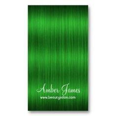 Long Wavy Green 3 Hair Colorist Business Card