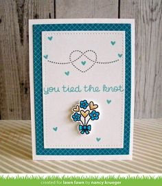 Lawn Fawn - Happy Wedding, Stitched Rectangle Stackables, Pint-sized Patterns Beachside paper _ clean and simple wedding card by Nancy for Lawn Fawn