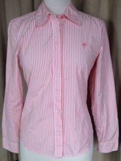 Lilly Pulitzer Women's Coral Orange White Striped L s Button Blouse Top 6 | eBay