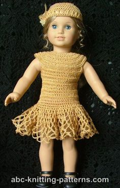 American Girl Doll Cocktail Dress with Beads - Free Doll Dress Crochet Pattern.  Love the skirt on this dress, isn't it cute!