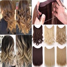 DIFEI 24 inch Long Synthetic Hair Heat Resistant Hairpiece Fish Line Straight Hair Extensions Secret Invisible Hairpieces Hair Secret Hair Extensions, Black Hair Extensions, Synthetic Hair Extensions, Halo Hair, Brown To Blonde, Hair Pieces, Straight Hairstyles, Long Hair Styles, Makeup