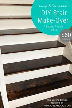 Staircase Remodel Carpet To Wood Stairs Tutorial By The Serene Swede Featured Stairs Makeover Carpet Featured Remodel Serene Staircase Stairs Swede Tutorial Wood Modern Basement, Basement Stairs, Basement Flooring, Basement Ideas, Redo Stairs, Basement Carpet, Basement Office, Basement Bathroom, Basement Storage