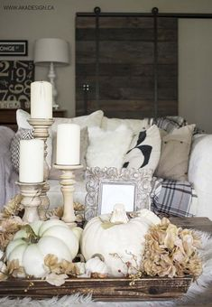 We have gathered together a collection for you of inspiring fall decor schemes using festive white pumpkins with tips on how to achieve the same look in your home. Most autumn decorating uses color… Fall Home Decor, Autumn Home, Diy Home Decor, Diy Autumn, Thanksgiving Decorations, Seasonal Decor, Table Decorations, Centerpiece Ideas, Tall Centerpiece