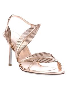 Metallic gold/beige leather stilettos with feather detail - perfect for any spring/summer affair!