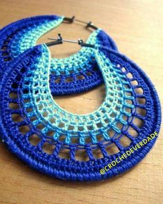 Artículos similares a Aros calados en azul en Etsy Supernatural Styl Crocheted Hoops by BohemianHooksJewelry on Etsy Hoop earrings in blue ombre, inspiration Free Crochet Instructions for Earrings How to Buy sell your used jewelry,jewelry and engagement Crochet Earrings Pattern, Crochet Jewelry Patterns, Easy Crochet Patterns, Crochet Accessories, Crochet Designs, Crochet Jewellery, Thread Crochet, Diy Crochet, Crochet Crafts