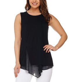 This Black Chiffon Sleeveless Top - Plus Too is perfect! #zulilyfinds
