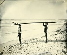 SurfLand: 06.09.30 #6 Minnie & Lulu by Joni Sternbach. Read Sternbach's statement about using the wet-plate collodion process here: http://www.jonisternbach.com/statement_surfers.html