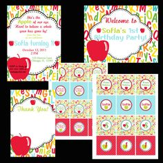 PRINTABLE Apple Birthday Party Collection DIY Printable Invitations By Luv Bug Design 2800