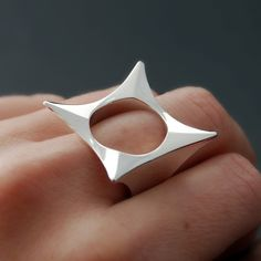 "Ring | Lucie Veilleux.  ""I Was A Cube""  Sterling silver."