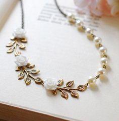 Bridal Necklace Wedding Necklace Antique Brass Leaf