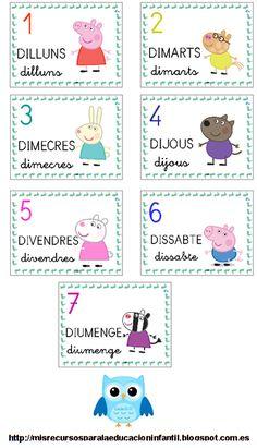 Recursos didácticos para la etapa de Educación Infantil: Los días de la semana - Els dies de la setmana - The days of the week