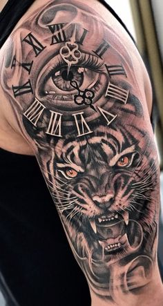Lion Head Tattoos, Dope Tattoos, Arm Tattoos For Guys, Body Art Tattoos, Half Sleeve Tattoos Designs, Arm Sleeve Tattoos, Tattoo Designs Men, Tigergesicht Tattoo, Rabe Tattoo