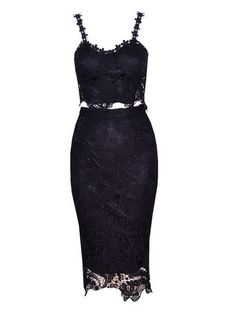Black Lace Camis Bodycon Crop With Lace Pencil Skirt