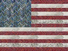 Artistic Tile I American Flag In Jazz Glass