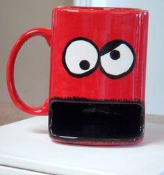 Monster Cookie Mug Milk and Cookies Dunk Mug in RED by claytopia, $22.00