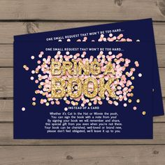 Baby shower Bring a book card Gold Navy Blue by Anietillustration
