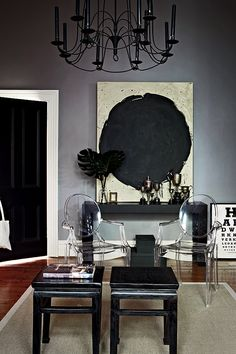 black door, white trim and grey wall!! House Beautiful in Melbourne