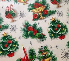Vtg CHRISTMAS Wrapping Paper Fancy Table Decor New Old Stock Gift Wrap