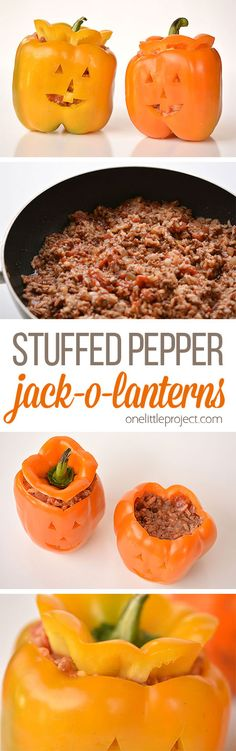 These stuffed pepper jack-o-lanterns are such a CUTE and healthy Halloween meal idea! They are surprisingly simple to make, and they're so much fun!