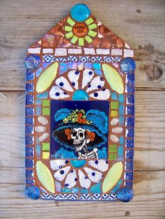 Mosaic Tile Day of the Dead Catrina Nicho by NatalieBacaStudio, $110.00