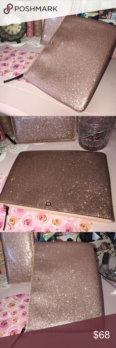 Kate Spade Glitter Zippered Case Kate Spade Rose Gold Glitter Zippered Case 7 x 10 inch kate spade Bags Clutches & Wristlets