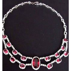 Elegant Ice Red Ruby Zirconia Gems Art Deco Styled Formal Ball Dress... ($55) ❤ liked on Polyvore featuring jewelry, necklaces, ruby necklace, gem necklaces, red choker necklace, red gem necklace and ball necklace