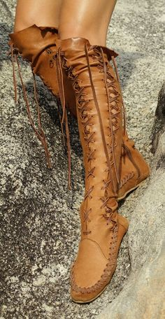 Will make boots like these from midnight blue leather. Will have a low but cute heel. Lacing will be made with EL string.