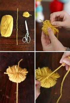DIY pom pom yarn ball bookmark