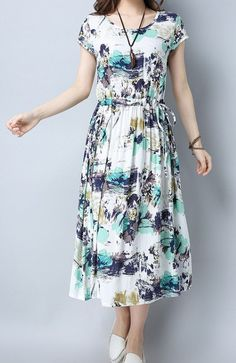 Women loose fit over plus size retro flower skater maxi dress tunic fashion chic #Unbranded #dress #Casual